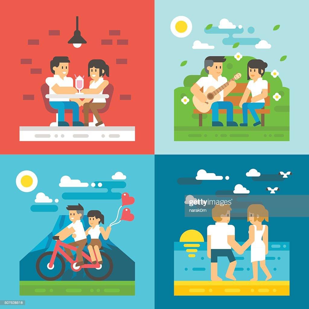 Flat design dating couple set