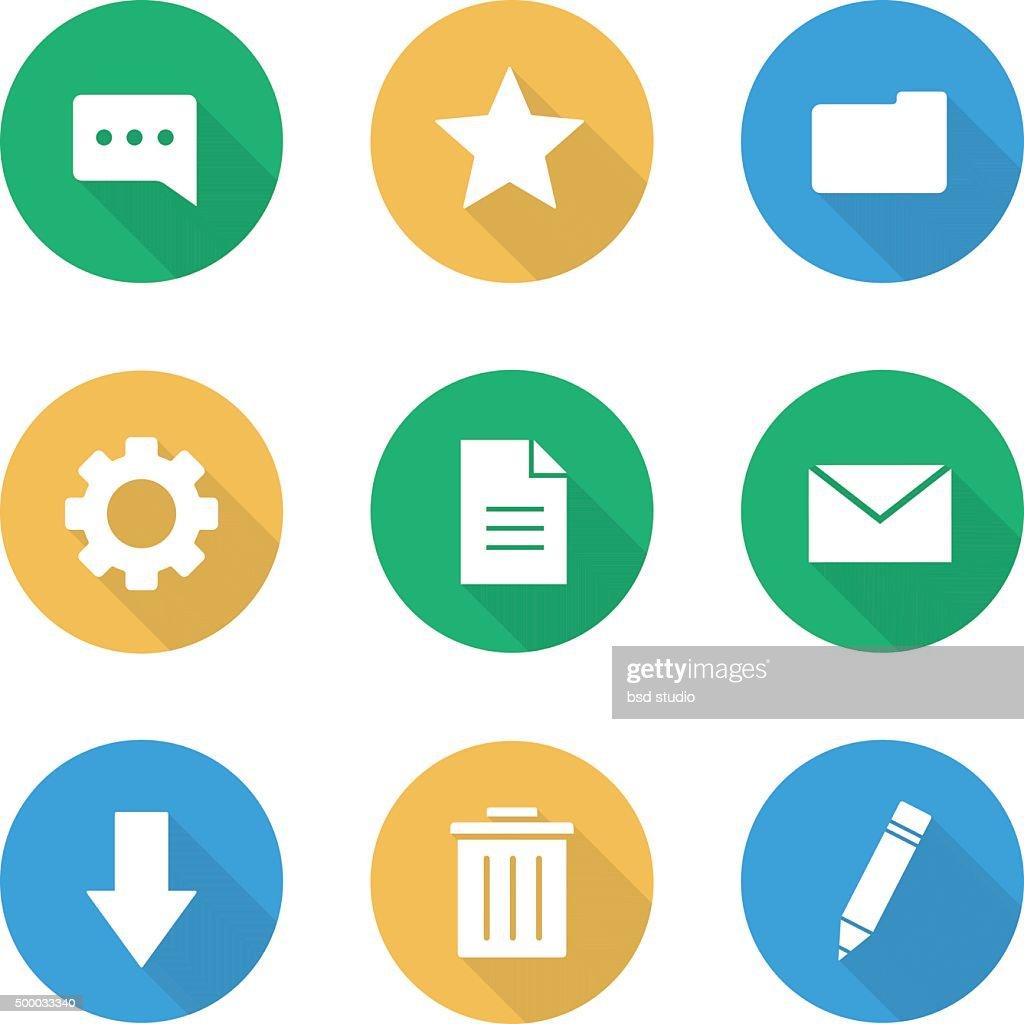 Flat design digital icons set