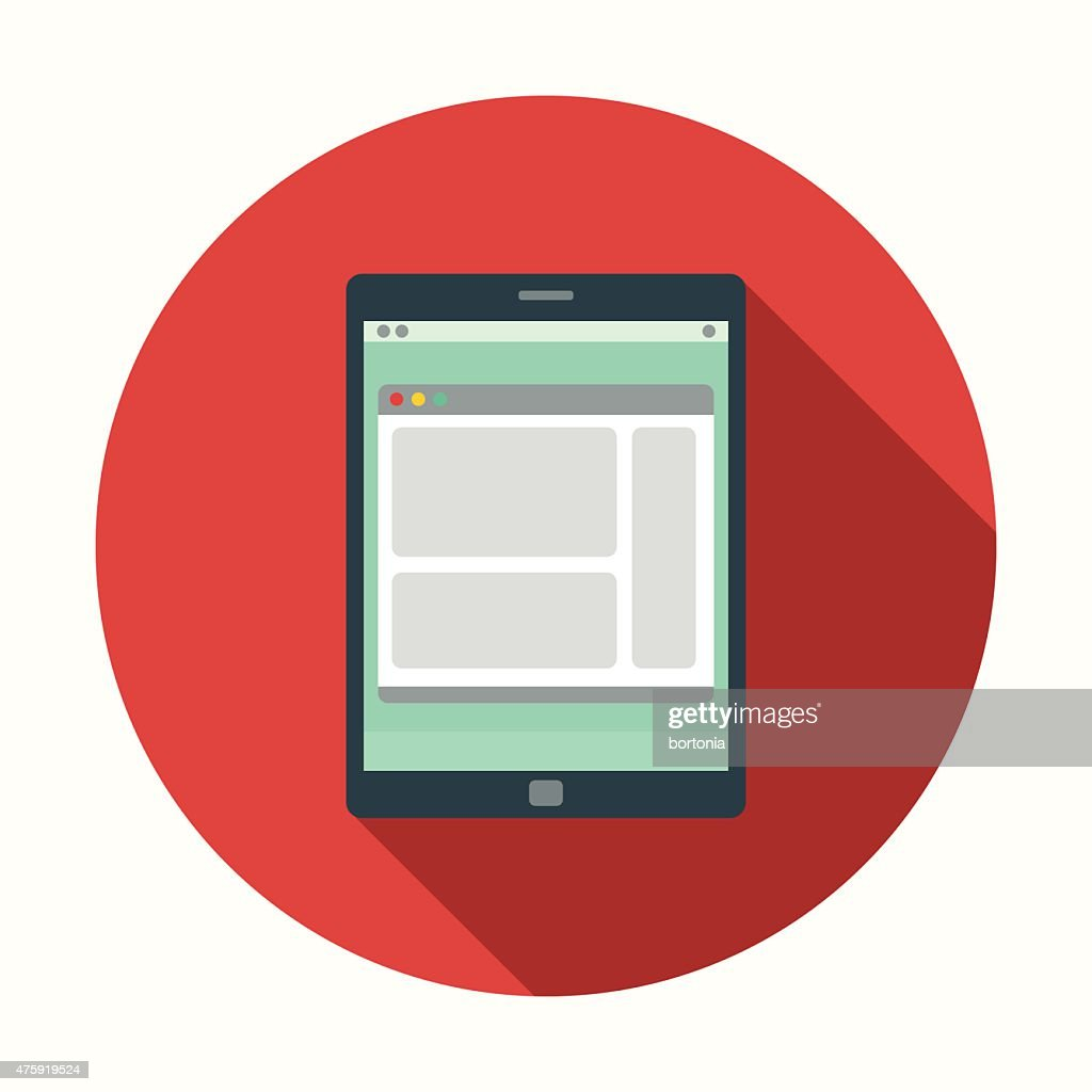 Flat Design Digital Tablet Icon With Long Shadow