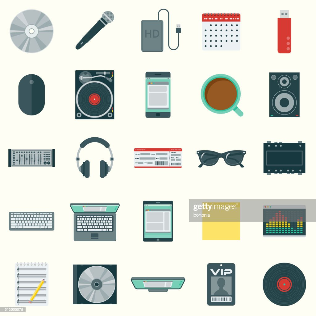 Flat Design Disk Jockey's Elements Icon Set