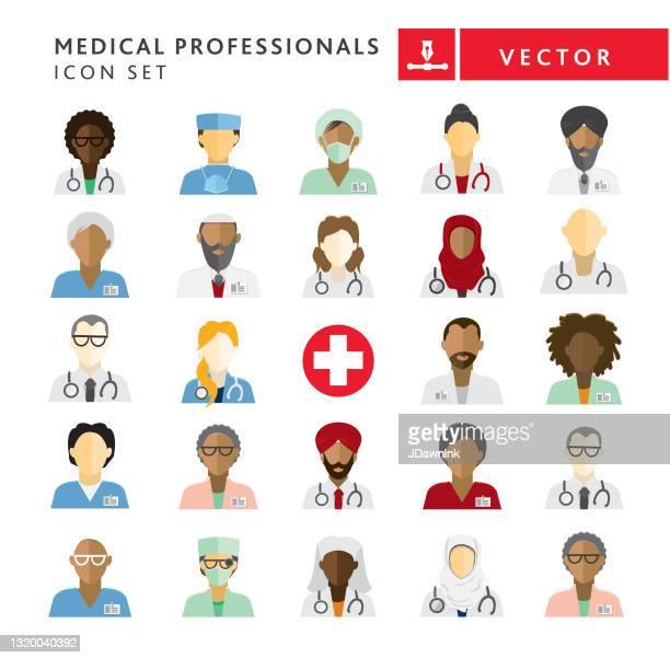フラットデザイン多様な医療専門家は、白い背景にアイコンセットをテーマに - 外科医点のイラスト素材/クリップアート素材/マンガ素材/アイコン素材