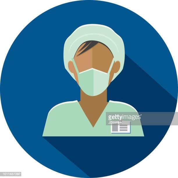 ilustrações, clipart, desenhos animados e ícones de plano design diversos profissionais médicos ícone temático com sombra - female surgeon mask