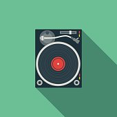 Flat Design DJ Turntable Icon With Long Shadow