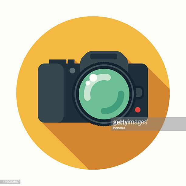 Flat Design DSLR Camera Icon With Long Shadow