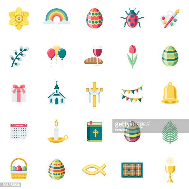flat design easter icon set - christianity stock illustrations