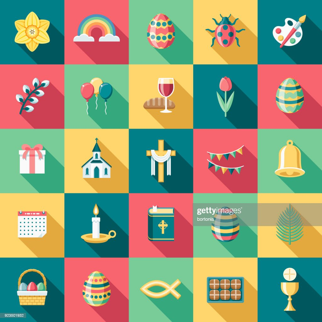 Flat Design Easter Icon Set with Side Shadow