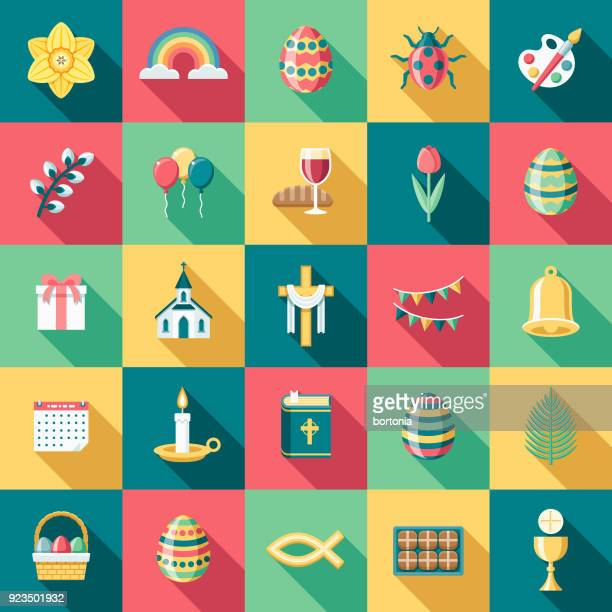 flat design easter icon set with side shadow - easter stock illustrations