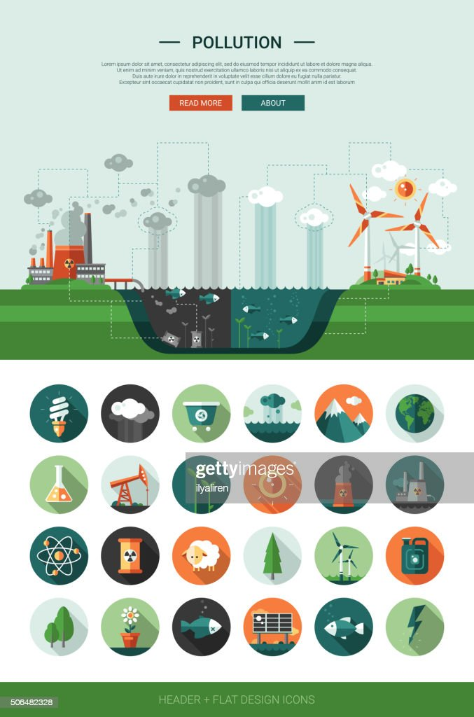Flat design ecological icons with header and infographics elements