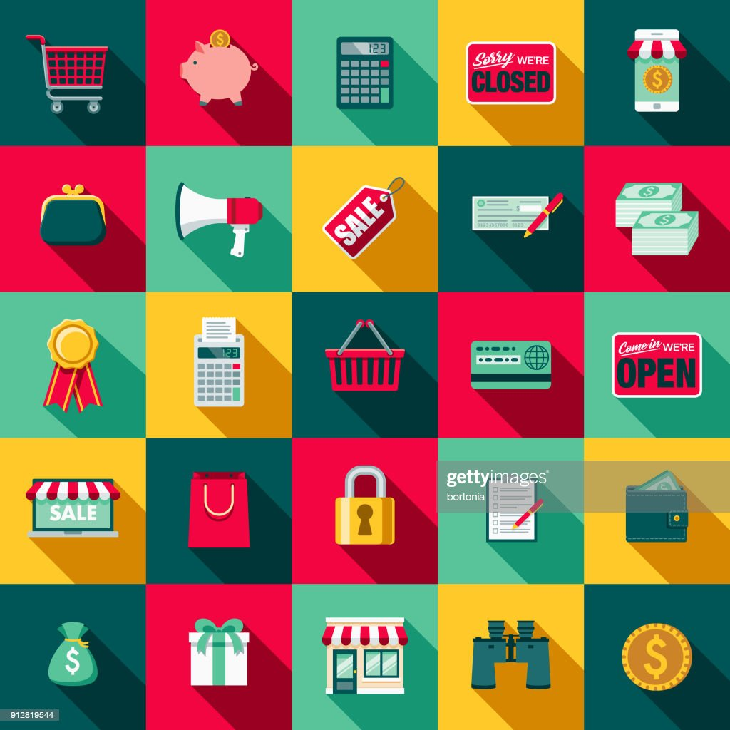 Flat Design E-Commerce Icon Set with Side Shadow