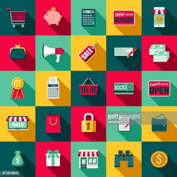 flat design e-commerce icon set with side shadow - color image stock illustrations