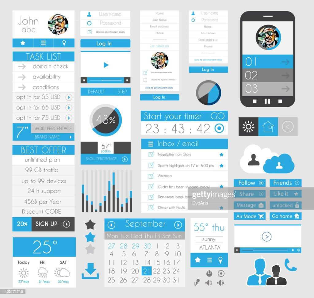 UI Flat Design Elements for Web