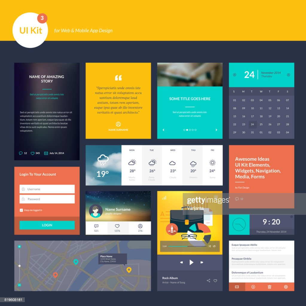 Flat design elements for website and mobile app development