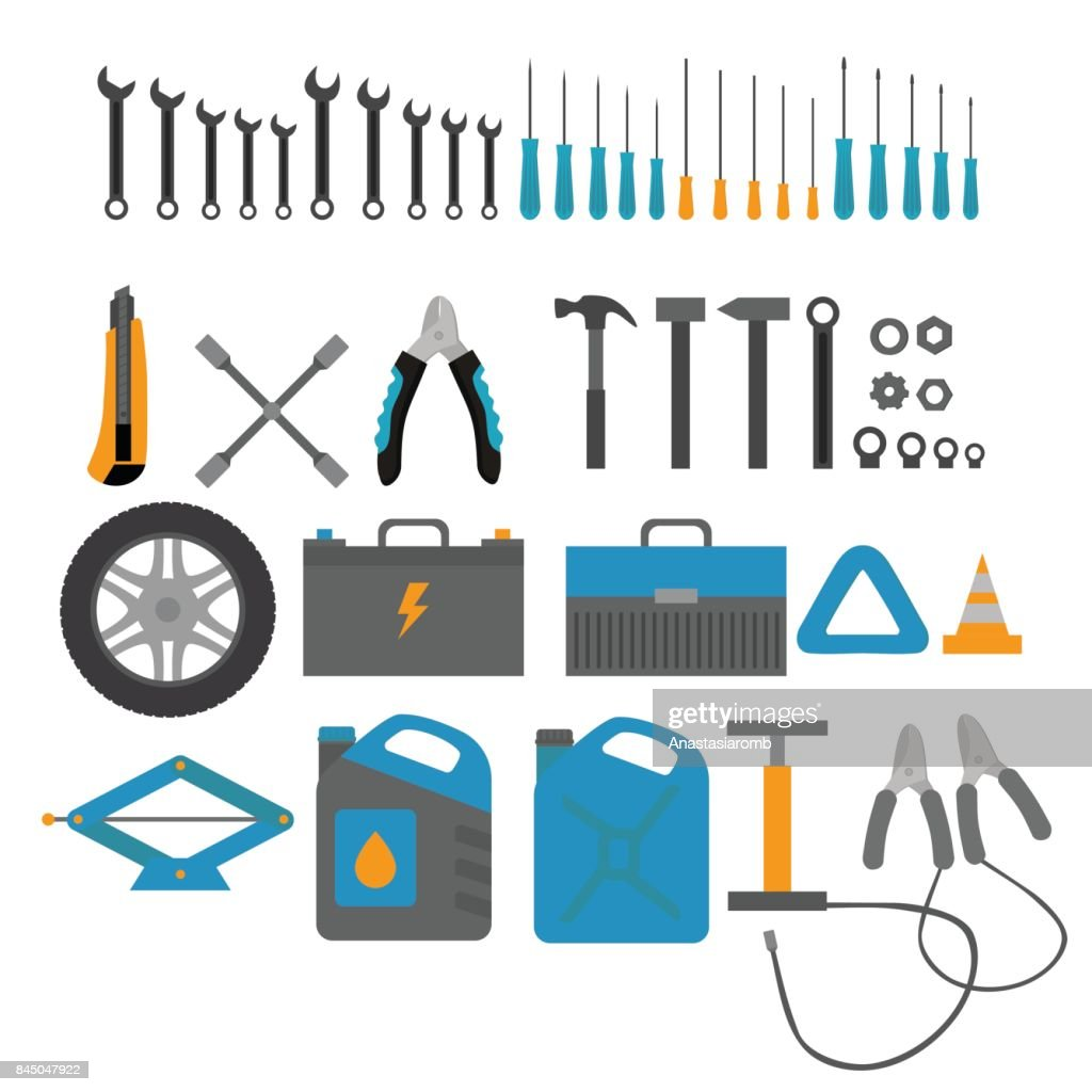Flat design elements of Car service and diagnostic. Auto mechanic repair of machines. Mechanic Tools and equipment set.