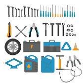 Flat design elements of Car service and diagnostic. Auto mechanic repair of machines. Mechanic Tools and equipment set.