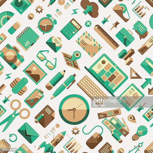 Flat Design Elements Seamless Pattern