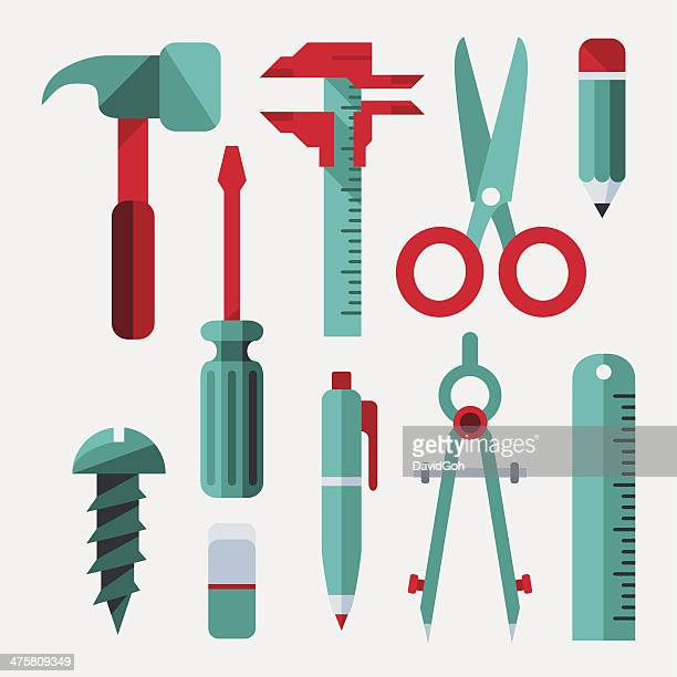flat design elements - tools - ruler stock illustrations