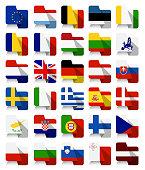 Flat Design European Union Waving Flags
