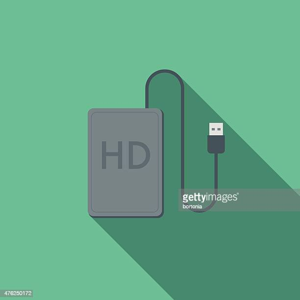 flat design external hard drive icon with long shadow - hard drive stock illustrations