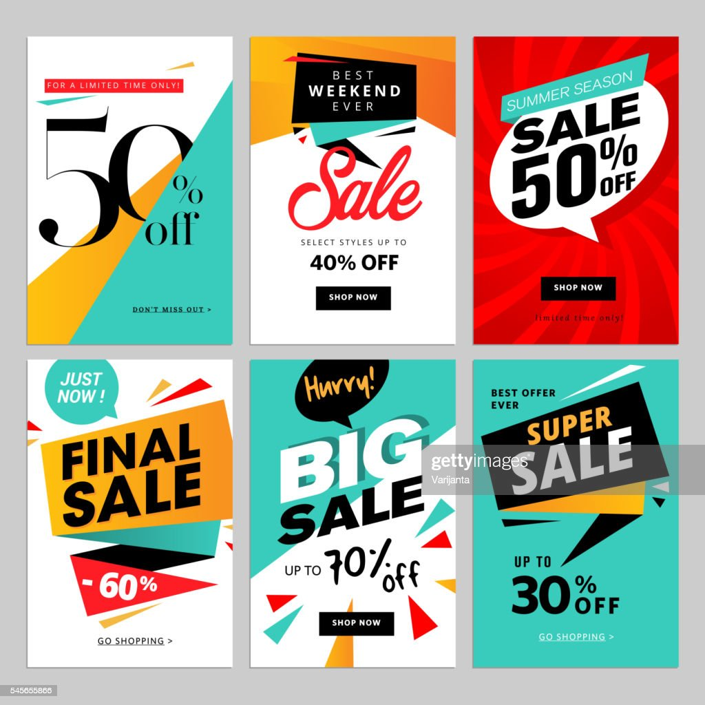 Flat design eye catching sale website banners for mobile phone