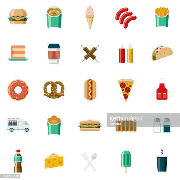 flat design fast food icon set - hamburger stock illustrations, clip art, cartoons, & icons