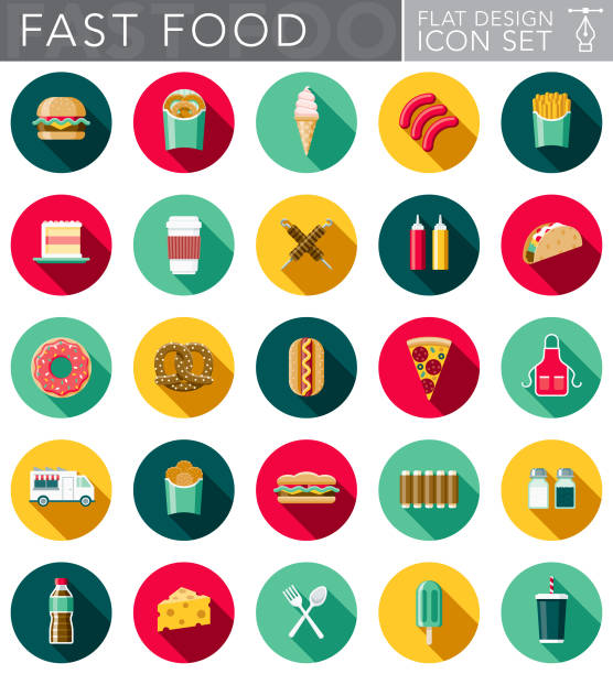 flat design fast food icon set with side shadow - frozen food stock illustrations