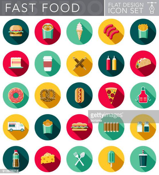 flat design fast food icon set with side shadow - unhealthy eating stock illustrations