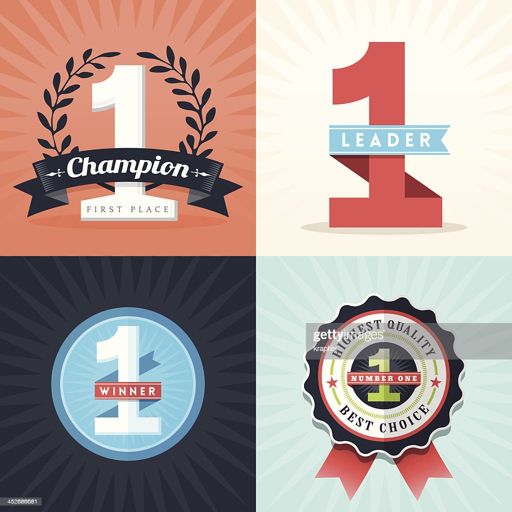 Flat Design First Place Winner ribbons and badges