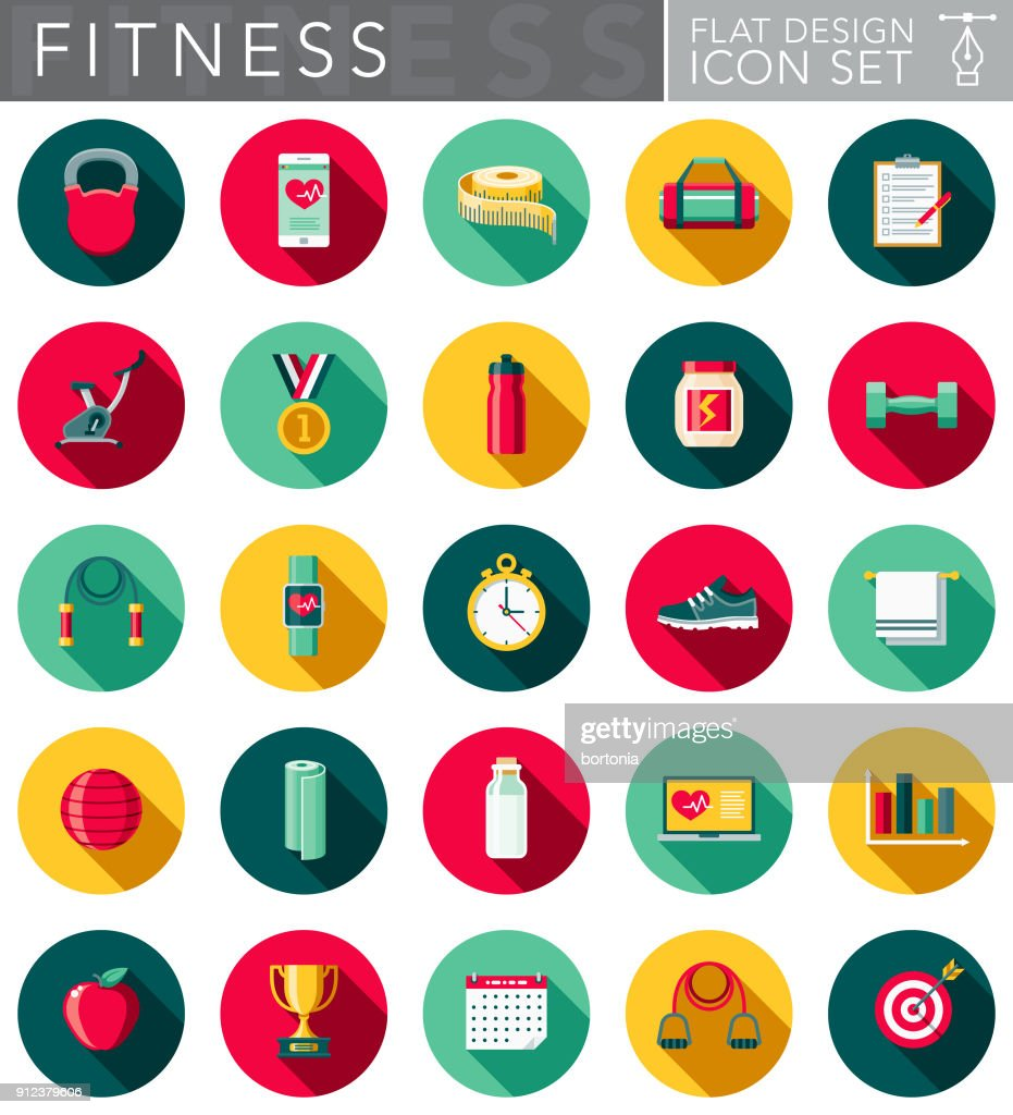 Flat Design Fitness Icon Set with Side Shadow