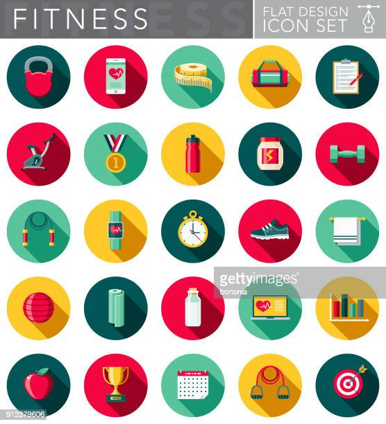 flat design fitness icon set with side shadow - healthy lifestyle stock illustrations