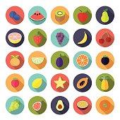 Flat Design Fruit Vector Icon Set