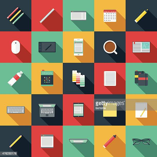 Flat Design Graphic Designer's Elements Icon Set