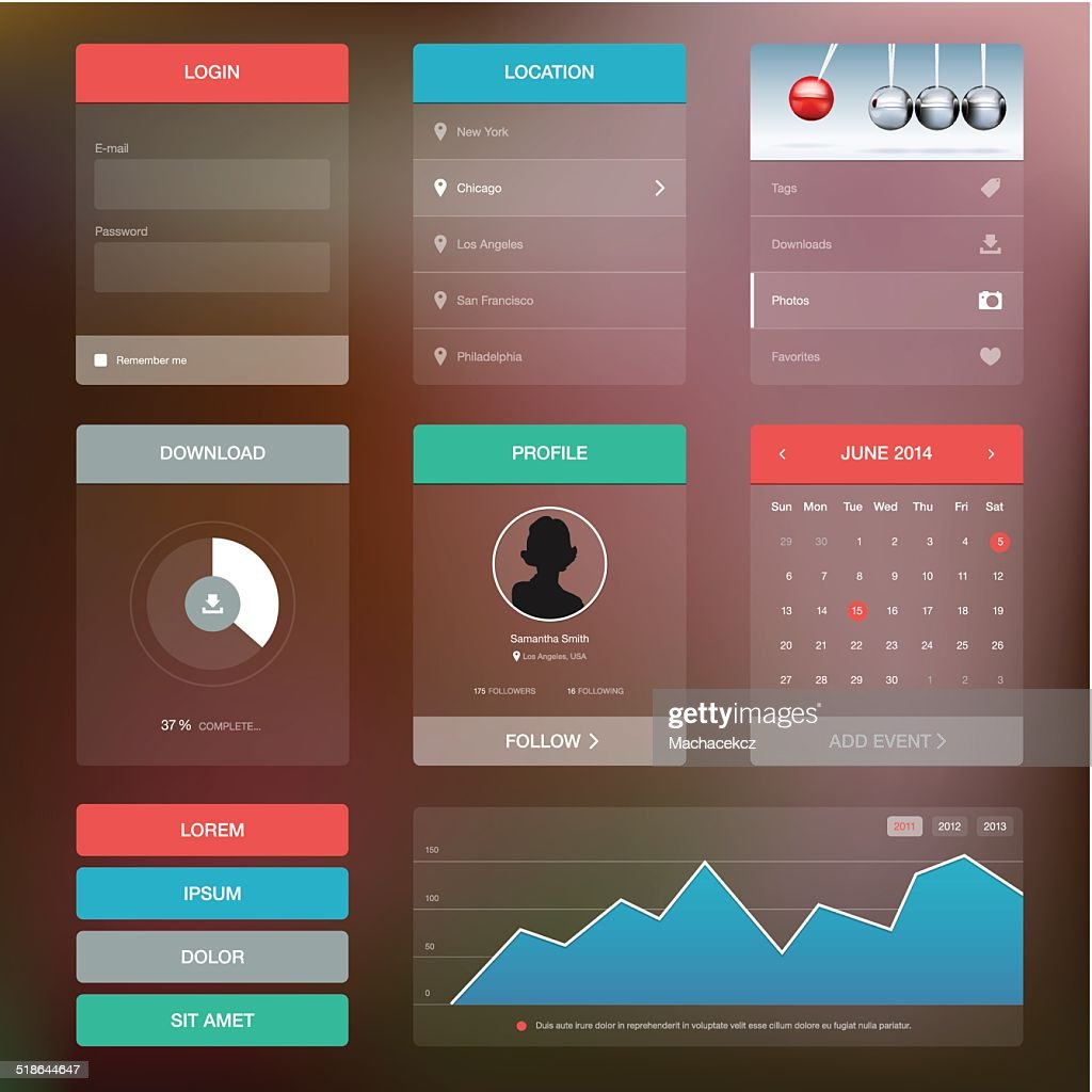 Flat design graphic user interface concept