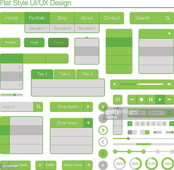 UI/UX flat design green and grey diagram laid out in grid