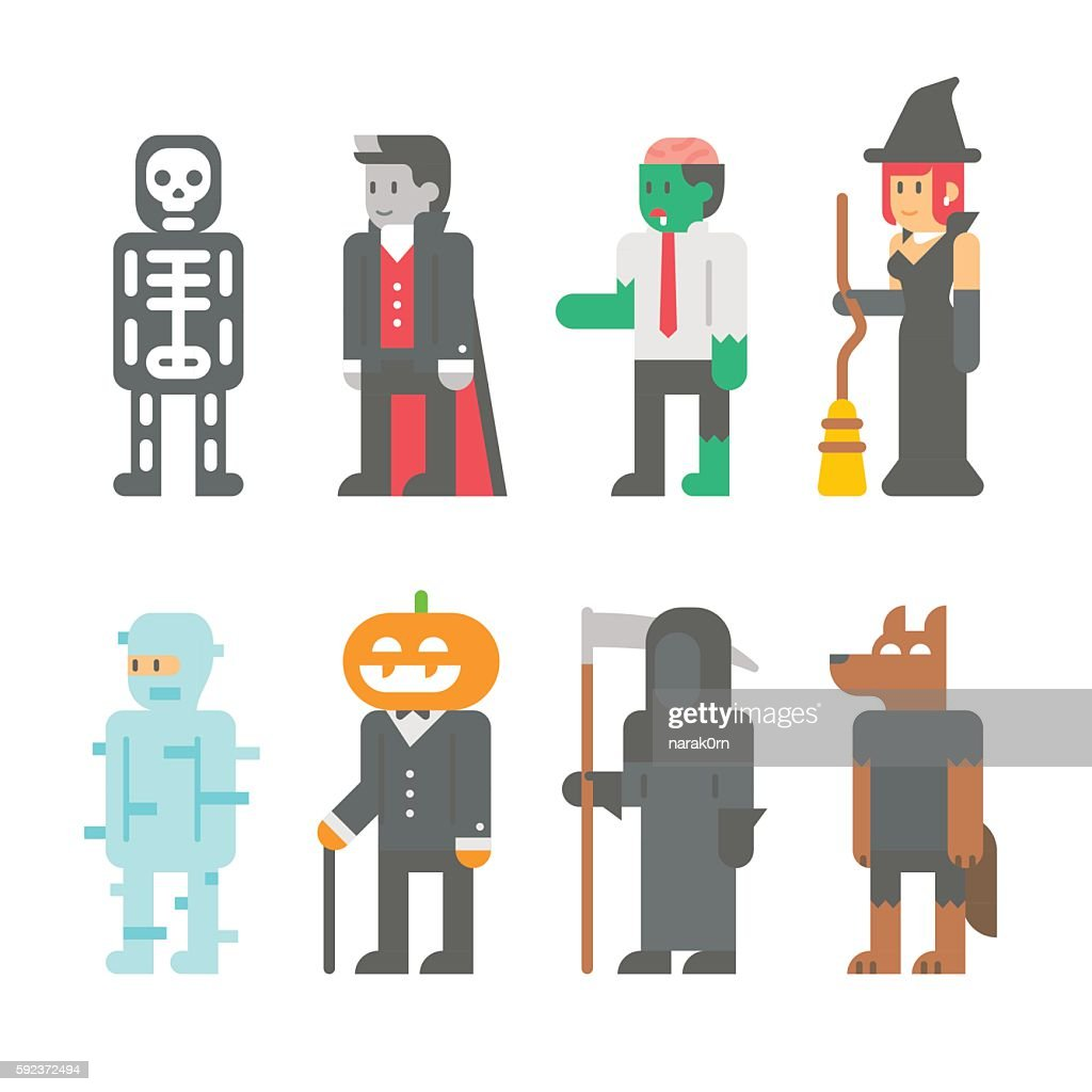 Flat design Halloween people set