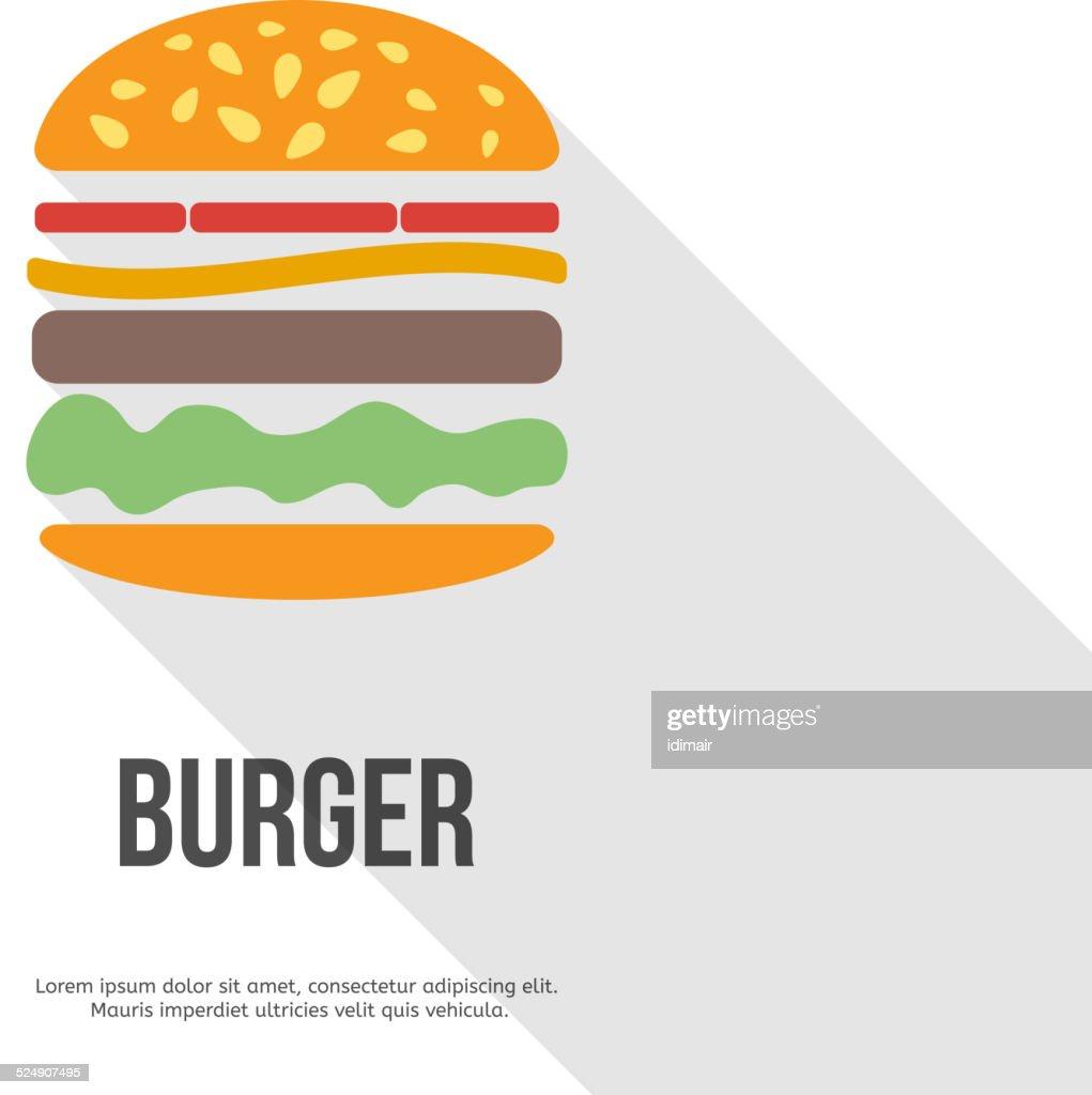 flat design hamburger web icon. vector