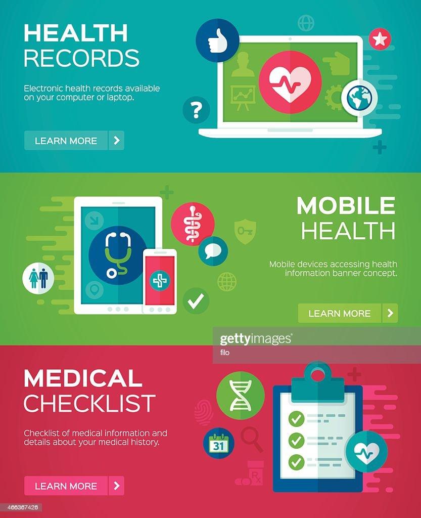 Flat Design Health Banners : stock illustration