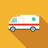 Flat Design Healthcare Ambulance Icon with Side Shadow