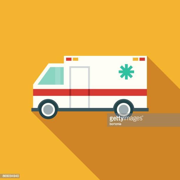 flat design healthcare ambulance icon with side shadow - ambulance stock illustrations