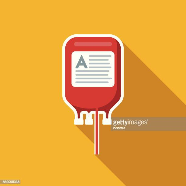 flat design healthcare blood bag icon with side shadow - blood bag stock illustrations, clip art, cartoons, & icons