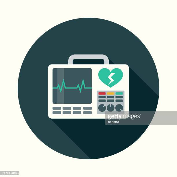 Flat Design Healthcare Defibrillator Icon with Side Shadow