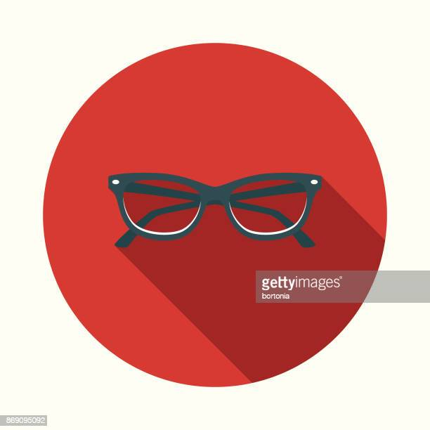 Flat Design Healthcare Eyecare Icon with Side Shadow