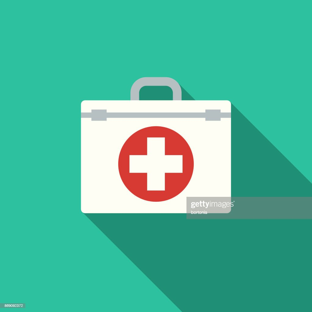 Flat Design Healthcare First Aid Kit Icon with Side Shadow