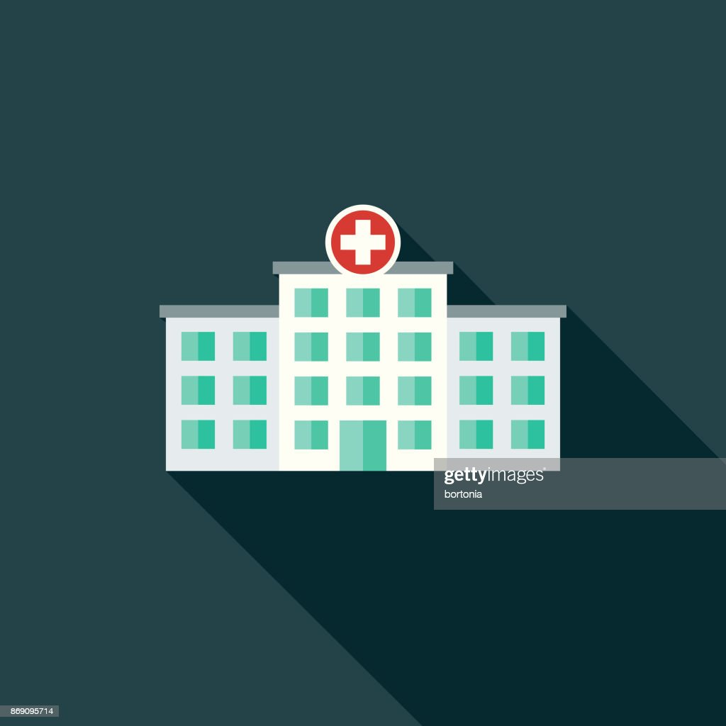 Flat Design Healthcare Hospital Icon with Side Shadow : stock illustration
