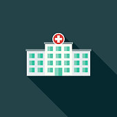 Flat Design Healthcare Hospital Icon with Side Shadow