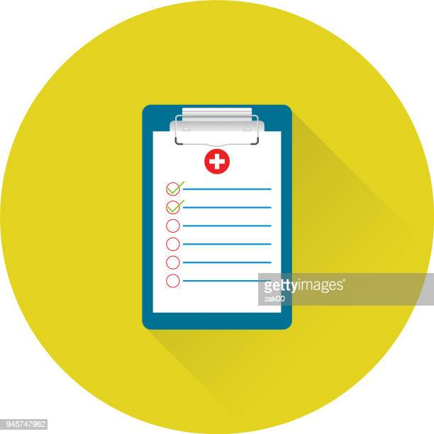 Flat Design Healthcare Medical Form Icon with Side Shadow
