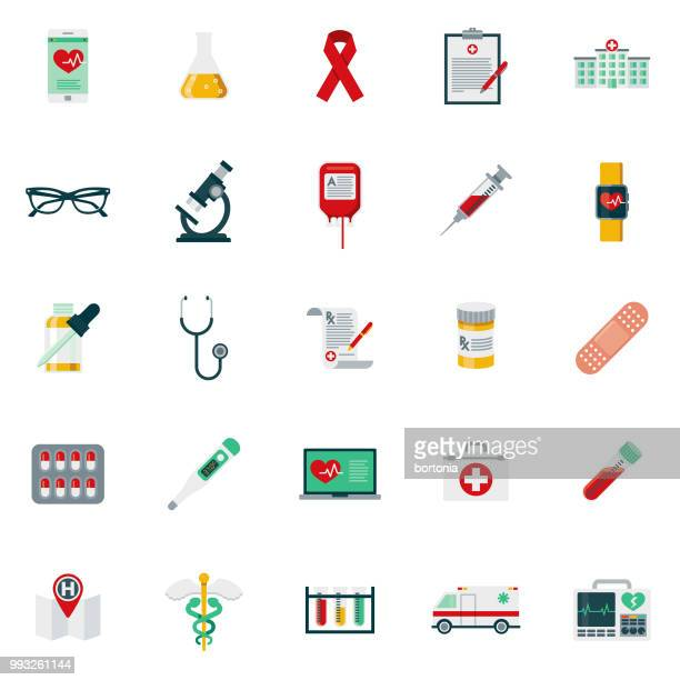 flat design healthcare & medicine icon set - blood test stock illustrations, clip art, cartoons, & icons