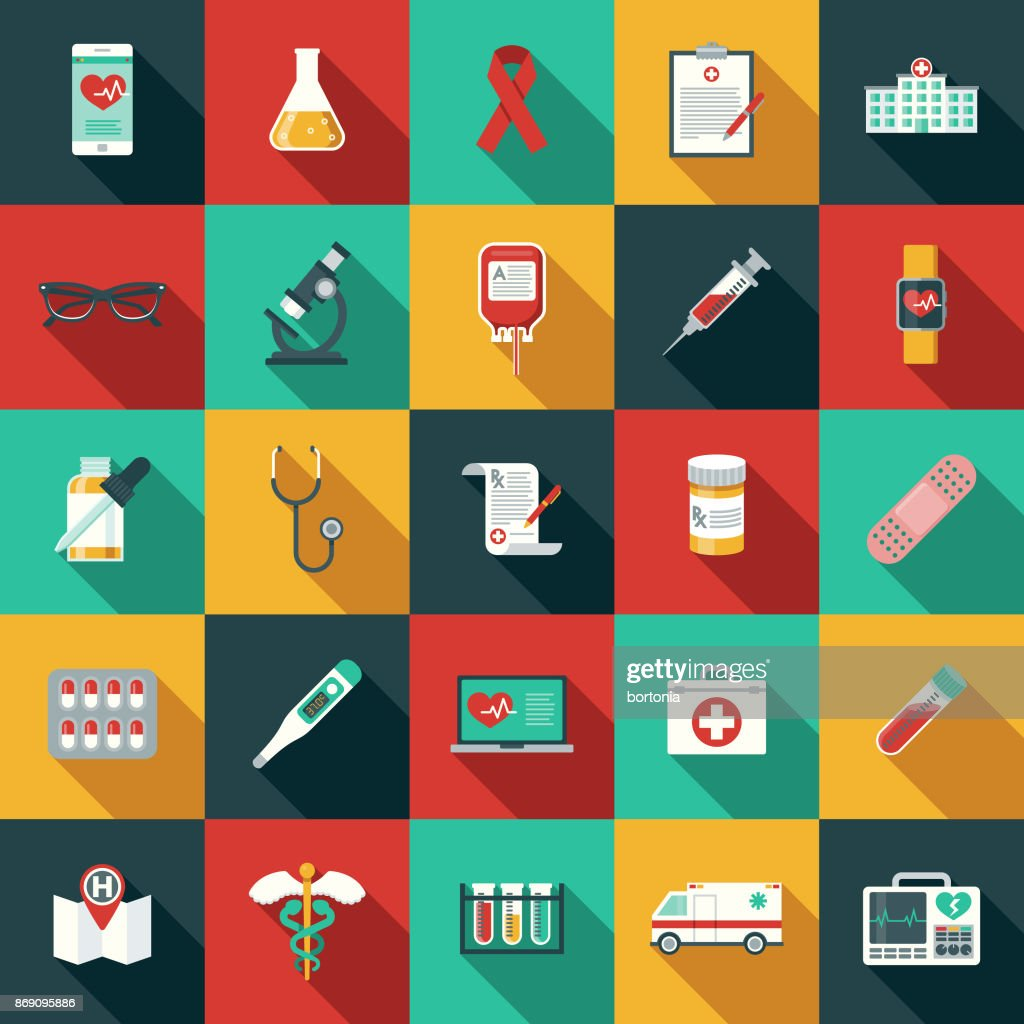 Flat Design Healthcare & Medicine Icon Set with Side Shadow : Stock Illustration