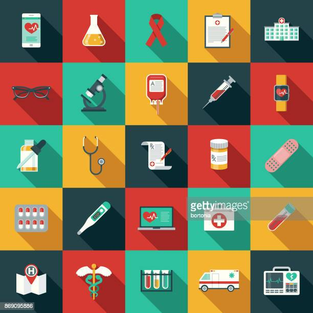 flat design healthcare & medicine icon set with side shadow - blood bag stock illustrations, clip art, cartoons, & icons