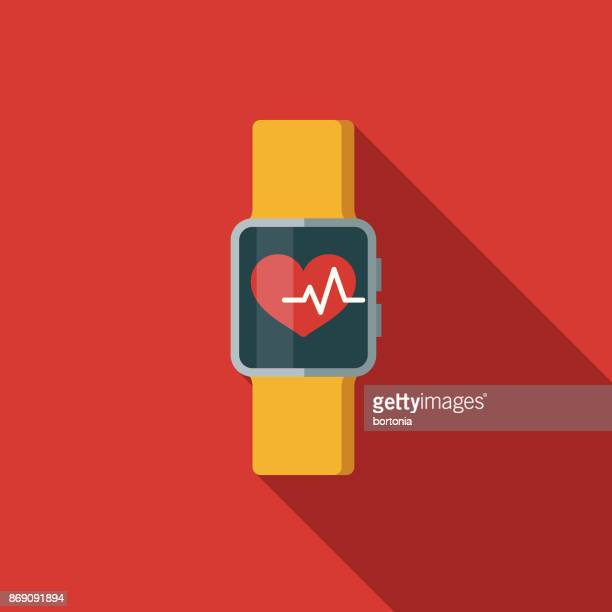 flat design healthcare smartwatch health app icon with side shadow - fitness tracker stock illustrations
