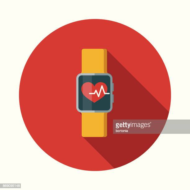 Flat Design Healthcare Smartwatch Health App Icon with Side Shadow
